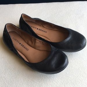 "Lucky Brand ""Emmie"" black leather ballet flats 5.5"